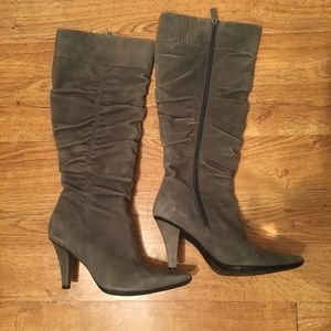 Kenneth Cole reaction gray suede knee high boots